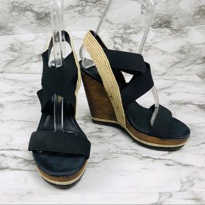 Jessican Simpson Black Strap Wedges Size 7.5